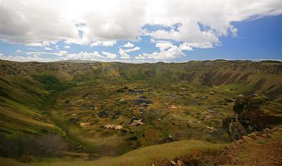 Vulkaan Rano Kau. Paaseiland (Rapa Nui), Chili.