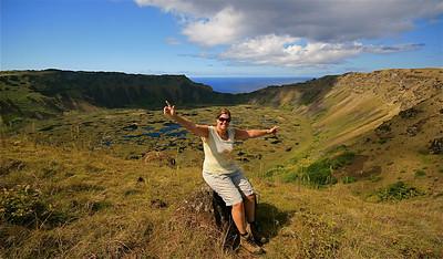 Nic @ Vulkaan Rano Kau. Paaseiland (Rapa Nui), Chili.