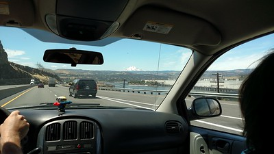 Ethan piloting us along I-84 toward Mt. Hood, near John Day Dam