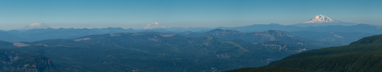 Mt. St. Helens, Mt. Rainier, and Mt. Adams from Larch Mountain