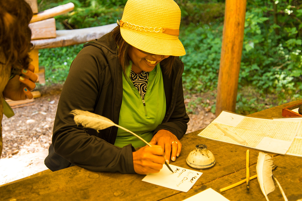 Writing with a quill fountain pen at Fort Clatsop in the Lewis and Clark National Historial Park