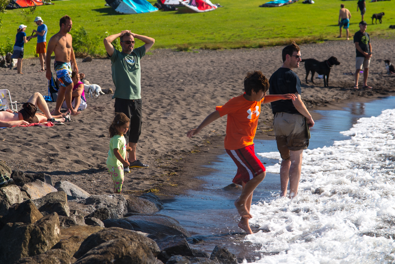 Playing in the water at Hood River