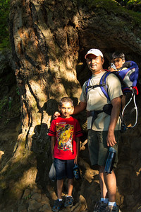 Avinash, Priyesh, and Kushaal hiking up to the top of Multnomah Falls