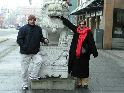 Rick tries to act naturally nonchalant while Karen hams it up at the entrance to Chinatown.
