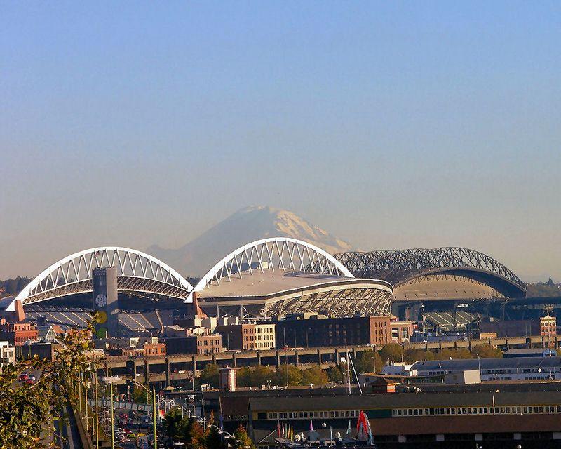 Mt. Rainier in the distance past QWEST Stadium and Safeco Stadium