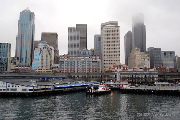 Seattle skyline, from the Bainbridge ferry, on a foggy morning.