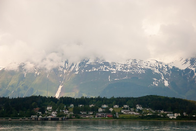 The town of Haines dwarfed by the Chilkat mountains Haines, Alaska