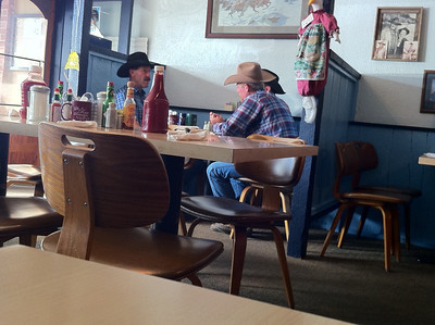 stealth capture of local cowboys at breakfast at The Rose
