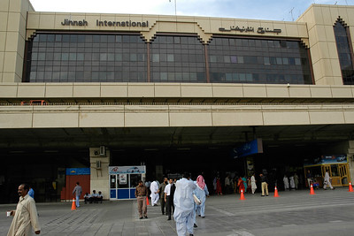 "Entrance to Jinnah International Airport (previously called Quaid-e-Azam International Airport) (IATA Code: KHI, ICAO: OPKC). This is Pakistan's largest international and domestic airport. It is located in Karachi, Sindh, Pakistan. The airport is named after Muhammad Ali Jinnah, the founder of Pakistan, who was also known as Quaid-e-Azam (""Great Leader""). The airport provides primary hub for the flag carrier, Pakistan International Airlines (PIA)."