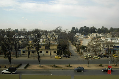 View of the street from my room in The Holiday Inn Hotel, Islamabad, Pakistan