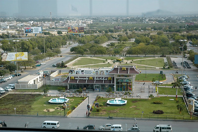 Ariel view of McDonald situated right in the airport in the Jinnah International Airport, Karachi, Pakistan