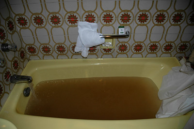 Quite amazing that even in a decent & high price hotel like The Holiday Inn Hotel, in Islamabad, Pakistan when I opened the tap the water was thick brown. I let the water run but it just stayed this way.   The white towel, shower curtain and soap box just show how bad it was!  Called the room-service and they said it will be fixed. The water stopped. :) Called again and they said it will be done. It was the same. It was so dark that I could not see the bottom of the tub! Couldn't take a bath.