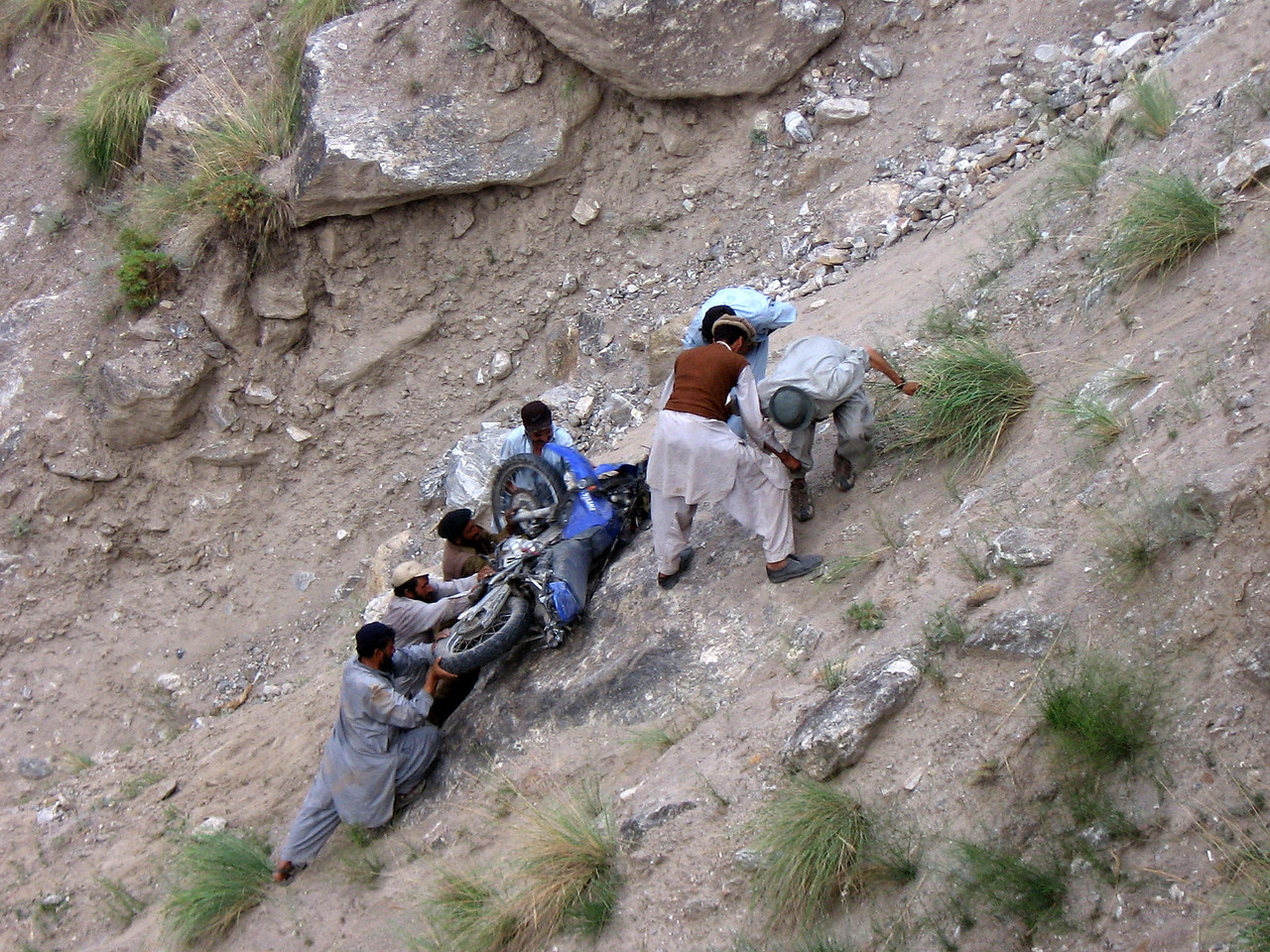 Recovering Pauls bike.  Road to Nanga Parbat