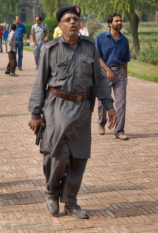 Security guard at the tomb of Jahangir