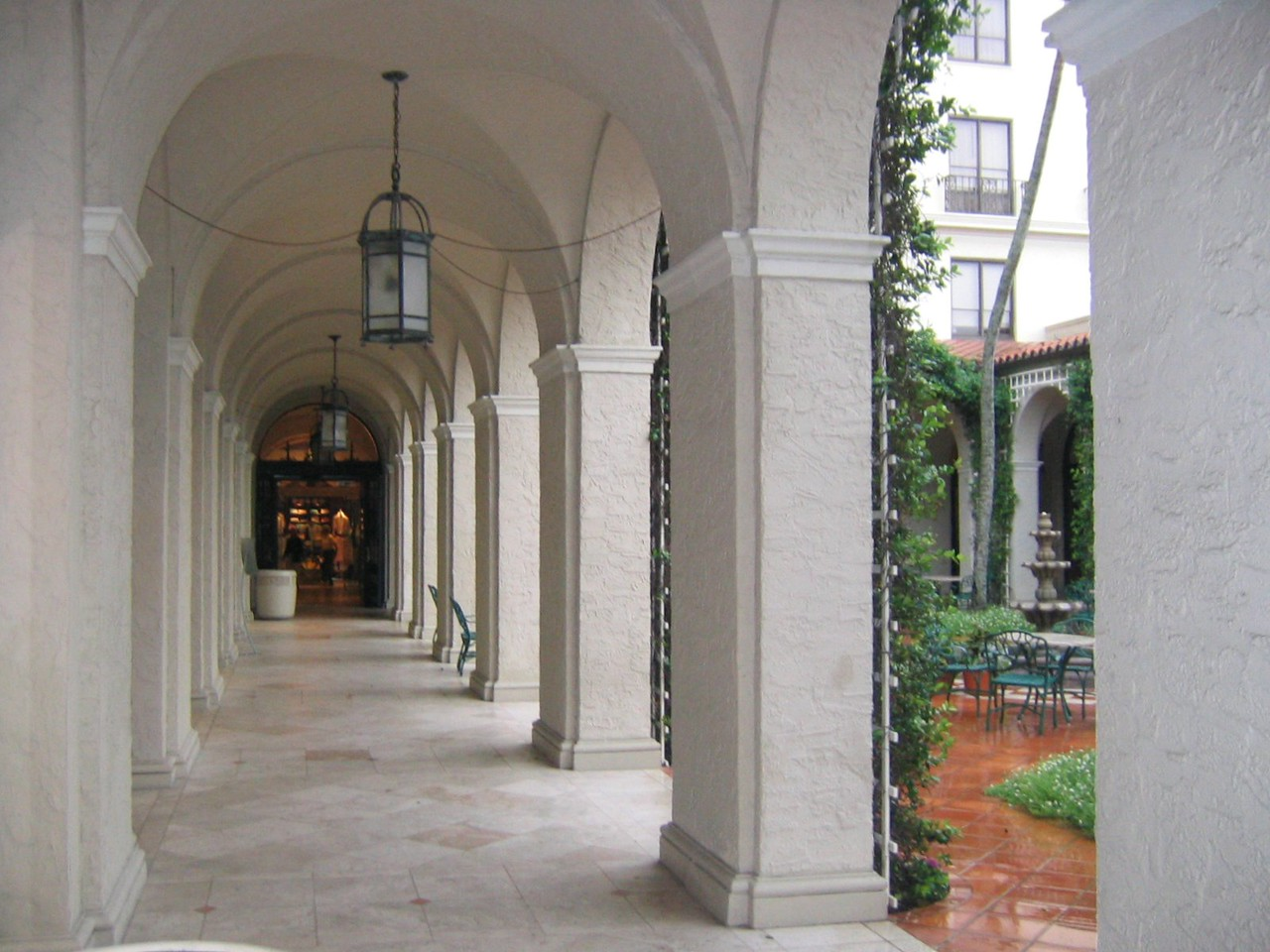 courtyard during storm