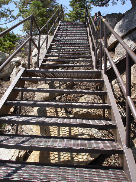 Some steep stairs provide access to a 360 degree view a test of your climbing strength at 8600 feet altitude.