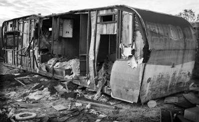 trashed trailer Salton Sea B&W 6673