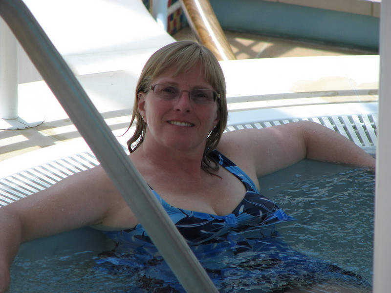 Karen in the hot tub
