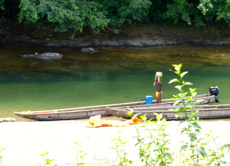 Embera motorized dugout canoes
