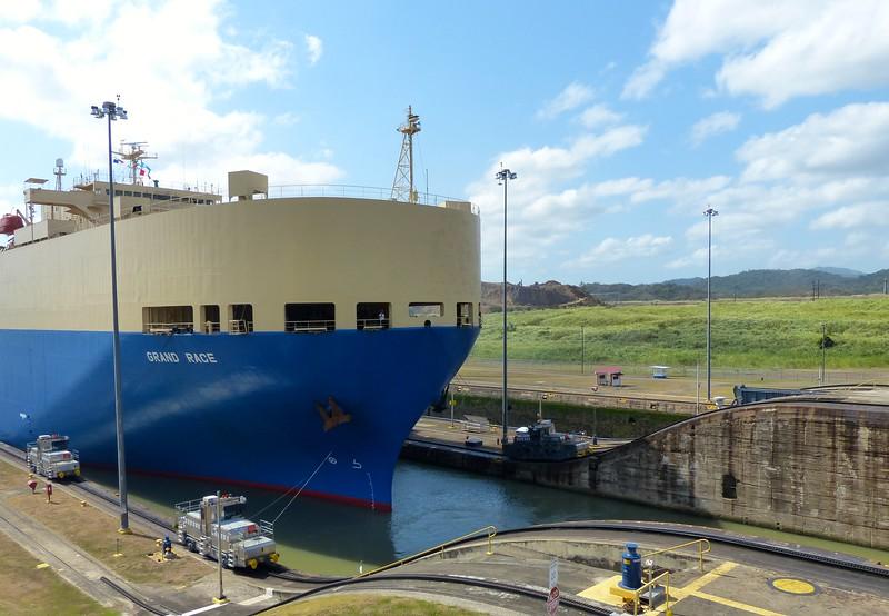 Ship ready to pass through locks
