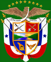 The Panamanian coat of arms as we pass through passport control and immigration.  Now, are our bags here?