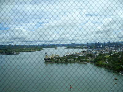 Our first glimpse of the Panama canal as we cross over the Bridge of the Americas.  We'll be coming back here tomorrow to board a boat to transit through 2 locks and into the Pacific ocean.