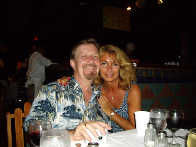 Bob Buckland and traveling companion Eileen Beer pose for photo at dinner in Panama at the Royal Decameron Resort.