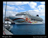 This is our Panama Canal cruise ship docked at Cozumel, Mexico.  We  are starting a field trip to Tulum to see the ancient Mayan ruins there.  This entails catching a ferry to the mainland, then a walk through town to our modern, air conditioned bus.