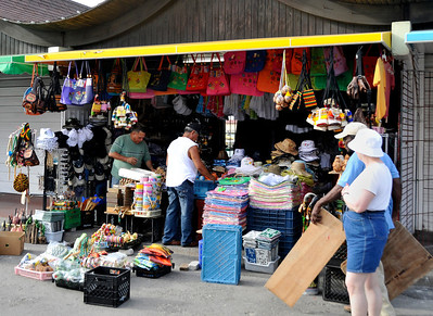 Shops were just opening.  Sally is sizing up the merchandise.  I bought a hat here to keep the sun off the bald head.  That was it for Aruba.