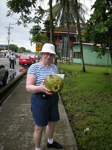 Sally wanted to try the coconut, but we didn't have a knife with a blade longer than 2 inches.  It weighed about 10-15 pounds.  We crossed the street beside Sally and were back at the ship.  I do want to return and spend some time there.