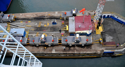 Looking down from deck 13 at the mules.  The ladder on the left is part of the ship,