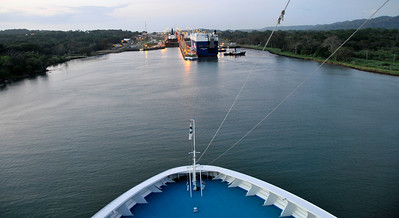 This is the approach to the Gutan Locks on the Atlantic side of the canal.  It is actually west (by just a mile or two) of the Pacific side.  The canal runs almost north to south, but there is enough angle to put the Pacific side east of the Atlantic side.  We are approaching the entrances to the first of three locks here.