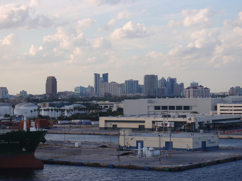 Day 1: Ft. Lauderdale - looking out from the deck of our ship to downtown Ft. Lauderdale.