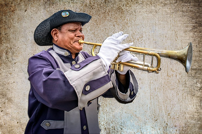 Trumpet player at the fort in Cartagena.