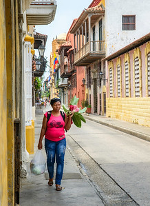 View of street and lady with beautiful flowers.