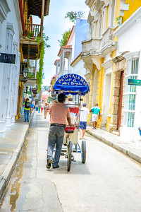 Vendors with their carts in Cartagena.