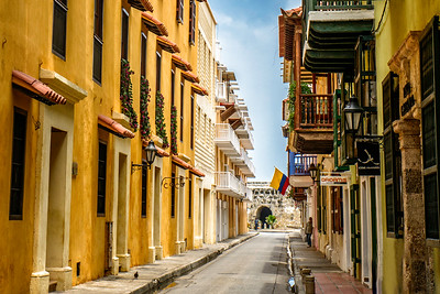 Walking tour inside the walled city of Cartagena, Columbia.
