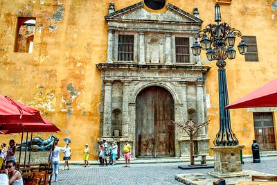 Cartagena, old church, at city square... Santa Teresa square