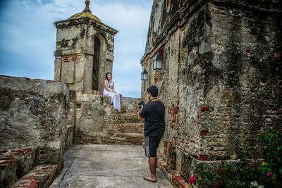 San Felipe de Barajas Fort with tourists taking photos.