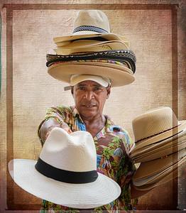 A vendor selling hats in Cartagena.