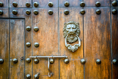 Closeup of beautiful wood door.
