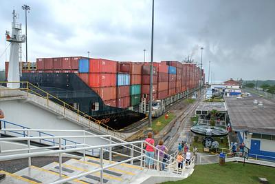 Ship enters first lock area at Gatun Locks, the locks closest to the Atlantic.