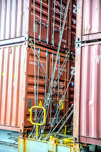 Cargo cables strapped on ship