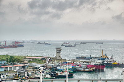 Ships wait their turn to enter the canal in the Gulf of Mexico