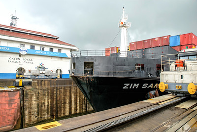 Freighter approaches tied to mules which cost 2.3 million dollars each!