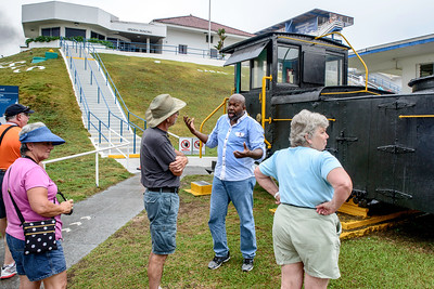 """Roberto Whitaker, our tour guide, explains early canal """"mules""""."""