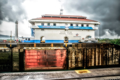 Gatun Locks waiting for ship to enter.  Ships take 8 to 10 hours to cross canal.