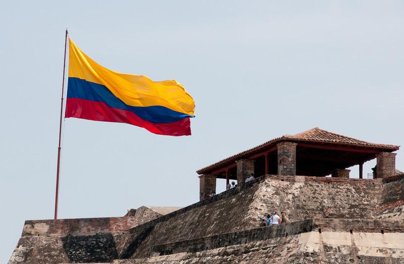 • Cartagena, Colombia<br /> • The Flag of Colombia at Castillo San Felipe de Barajas Fortress