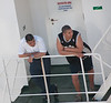 • Panama Canal<br /> • A couple of guys on the ship across from the Coral Princess just hanging out while they go through the locks.  It takes between 8-10 hours to go from the Atlantic to Pacific Ocean and on average only 38-42 ship make the crossing per day.