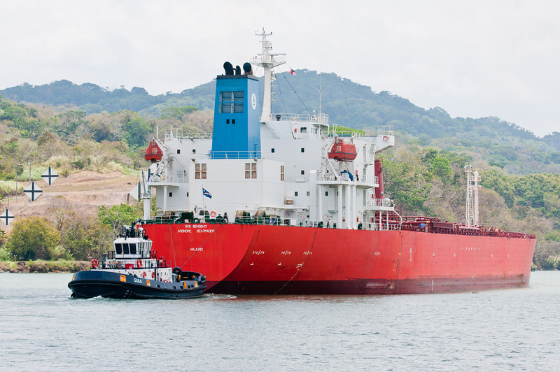 • Panama Canal<br /> • A Tug Boat tied to the back of the tanker so it can slow it down.